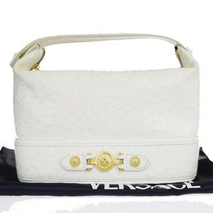GIANNI VERSACE Logo Hand Bag Ostrich Leather Ivory